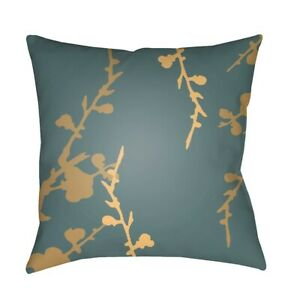 Chinoiserie Floral by Surya Pillow, Teal/Tan/Yellow, 22' x 22' - CF016-2222