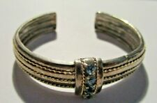 Jeweler Verified Sterling Silver Cuff Bracelet w Blue Zircons
