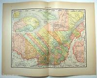 Original 1895 Map of Quebec by Rand McNally. Canada. Antique
