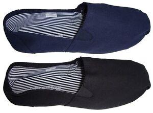 Mens Canvas Shoes - Beach Shoes - Deck Shoes - Espadrilles - Black or Navy - New