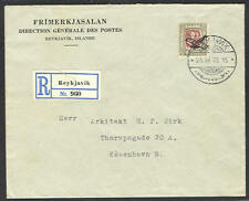ICELAND 1937, Air registered cover to Denmark w/C2