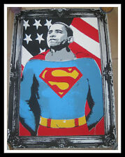 MR BRAINWASH BARACK OBAMA SUPERMAN SILVER S/N SCREEN PRINT RARE Shepard Fairey