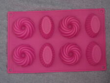 Pink / Red Silicon Bun Shaped Mould for Candle Making / Soap Making - 8 cavities