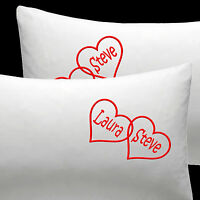 Personalised EMBROIDERED pillow cases Cotton Wedding Anniversary gift Christmas