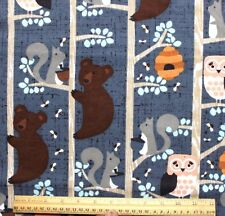 SNUGGLE FLANNEL *BEARS & BEEHIVE on GRAY*OWL*SQUIRREL*100% Cotton Fabric NEW BTY
