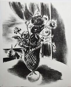 YASUO KUNIYOSHI-Japanese Modernist-Hand Signed LIM.ED Litho-Vase of Flowers No.2