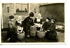 Dutch Man-Children-Wicker Baskets-Volendam-Holland-Vintage RPPC Photo Postcard