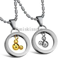 Lovers Stainless Steel Circle Lovely Mickey Pendant Necklace Couples Love Gifts