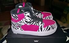 Supra Girls size 8 pink and zebra print shoes