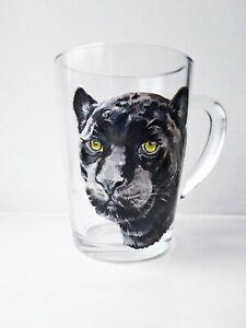 Black panther hand painted, Wildlife cat mug, Personalized mug