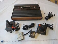 Atari CX-2600 A vintage wood grain game system console RARE controllers AS IS