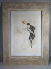 A.ARTIGUE ANCIENNE EPREUVE LITHOGRAPHIE LA BELLE ET LE GALANT EPOQUE 1920-1930