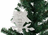 3 x Sparkle SILVER OWL Christmas XMAS Tree Hanging Decoration Baubles Glitter