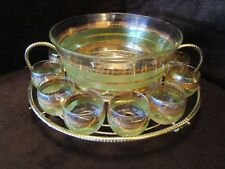 STARLYTE Punch Bowl 12 Roly Poly Glasses Green & gold Metal Caddy 1960's Signed