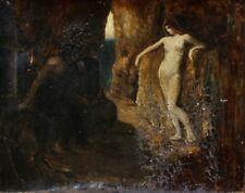 C.1880 francés simbolista óleo sobre lienzo-La última tentación de Cristo-Para Restaurar