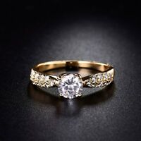 Fashion Eternity Sapphire Crystal Yellow Gold Filled Women Wedding Ring UK J-R