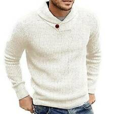 Mens Knitted Long Sleeve Pullover Jumper Casual Plain Sweater Winter Warm Blouse