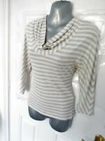 PHASE EIGHT Size 10 White Grey Marl Stretchy Cowl Neckline Blouse Top Soft
