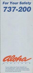 Safety Card - Aloha - B737 200 - 1992 (S4309)
