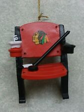 Chicago Blackhawks NHL Stadium Chair Ornament Seat Hockey Stick & Puck Drink Cup
