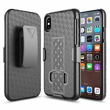 IPhone X 10 Rugged Slide Belt Clip Holster Combo Slim Case Cover with Kickstand