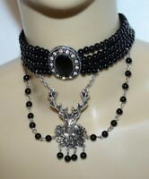 Deer CHOKER Necklace BLACK BEADED German Oktoberfest Evening Dirndl Dress NEW