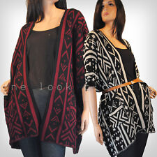 LADIES LONG CHUNKY KNITTED PONCHO OPEN CARDIGAN CREAM BLACK RED AZTEC TRIBAL