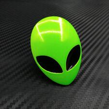 Green Car Full Metal Alien Head Logo Emblem Badge Sticker Decal 3D UFO ET