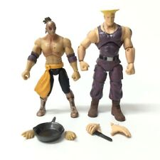 "Lot 2pcs JAZWARES STREET FIGHTER EL FUERTE &  GUILE 4"" Classic figure toy gift"
