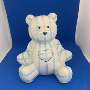 TEDDY BEAR MONEY BOXES (SET OF 2)  BLUE STRIPE