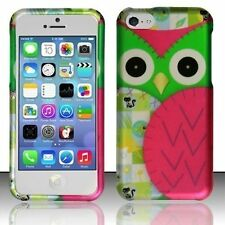 Design Rubberized Hard Case for Apple iPhone 5C - Green Pink Owl