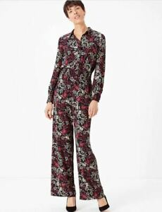 BNWT M&S Black Floral Print Waisted Jumpsuit - UK 14                 (AX1378)