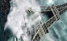 Framed Print - Eiffel Tower Amidst an Epic Tsunami Flood (Picture Poster Art)