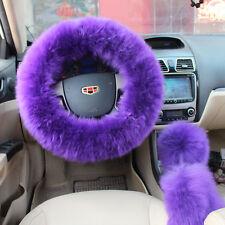 US Seller Plush Fuzzy Steering Wheel Cover Purple Wool Handbrake Car Accessory U