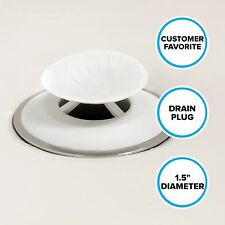 """Recyclable Snug Plug Drain Stopper (1.5"""" Drain Hole) in White by SlipX Solutions"""