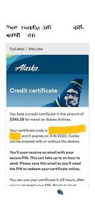 Alaska Airlines Travel Voucher. $345.28