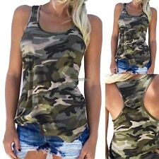 Fashion Casual Women Army Camo Camouflage Tank Top Sleeveless O-neck Slim Shirt