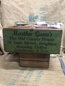 Handmade Martha Gunns Coffee Teas Wooden Trug Carrying Crate Storage Box