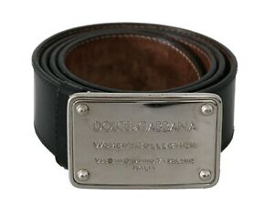 DOLCE & GABBANA Belt Black Leather Branded Logo Buckle s. 90cm / 3