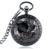 Black Steampunk Skeleton Hand Winding Mechanical Eagle Pocket Watch Pendant