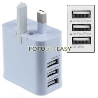 UK Plug 2A 3-Port USB AC Power Adapter Wall Charger for iPhone iPad Galaxy S3 S4