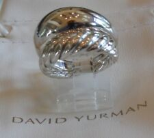 David Yurman New Pure Form Two Row Cable Band Ring 17mm Size 7 & Pouch