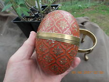 Collectible Solid Brass Take-Apart Egg w/Coral Enameling on a Display stand