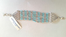 NWT Lucky Brand Beaded Bracelet Silver Hardware Semi Precious Turquoise JLD1153