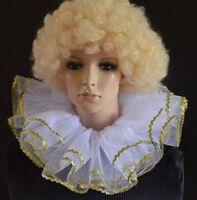 WHITE & GOLD layered net BURLESQUE fairy/angel/clown collar - neck ruff/ruffle