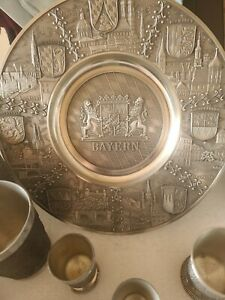 """Fein Zinn Pewter German Wall Plate """"Bayern"""" Cities Crests& cup set VINTAGE"""