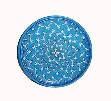 Blue Pottery Home and Restaurant Décor White and Sky Colour Design Plate (10 in)