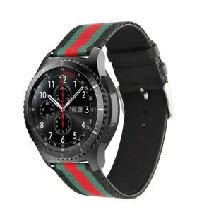 For Samsung S3 Frontier/Classic Strap 20/22mm Nylon Leather Band Gucci Design UK