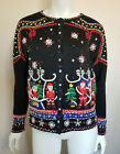 Vintage Ugly Christmas Sweater Tacky Holiday Cardigan Knitted Beaded Size M