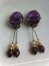 Ancien Bijou - Boucles d'Oreilles Pendantes - CLIPS - Old Earrings